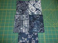 BATIK Just Blue Set of 5 FAT QUARTERS Crafting Quilting Cotton Fabric 1