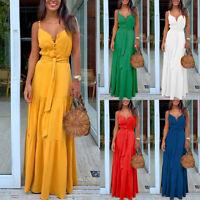 ❤️Women Sling V Neck Button Long Maxi Dress Sexy Sleeveless Beach Party Sundress