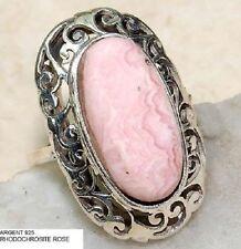 Bague bijou style vintage argent pur solitaire pierre RODOCHROSITE ROSE T 56
