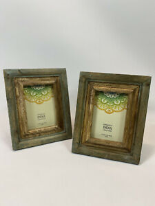 Picture Photo Frames Distressed Solid Wood Hand Crafted 4x6 Set Of Two