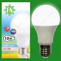 10x 10W A60 GLS ES E27 6500K Daylight White Frosted LED Light Bulb Lamp