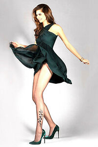 GABRIELLA Tights Fancy Lycra Sizes T3/M & T5/XL Black 'Jasmine'