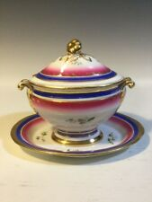 19th C.Old Paris Porcelain Sauce Tureen Att. Underplate - Hp Flowers/Blue & Pink