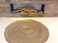 ROUND Braided Natural 100% JUTE Reversible IN & OUTDOOR Area Rugs washable Gold