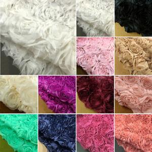 3D Embroidery Rosette Lace Fabric Wedding Dress Diy Decorative Cloth Width 130cm
