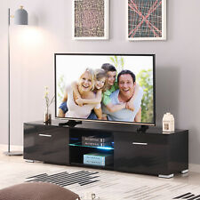Black 63'' High Gloss TV Stand Unit Cabinet w/LED Shelf 2 Drawers Remote Control