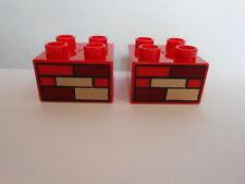 LEGO DUPLO 10518 Baustelle 2 Motivsteine rot 2x2 Noppen NEU