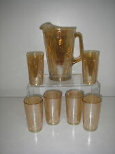 Jeannette Glass HEX OPTIC Iridescent Marigold 7 pc Beverage Set Pitcher tumblers