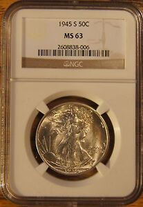 1945-S WALKING LIBERTY HALF DOLLAR GRADED BY NGC AS MS-63 #2608838-006