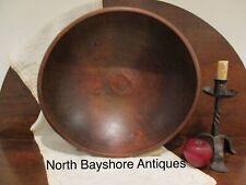 Antique 1800s New England Hand Turned Black Ash Wood Treen Dough Bowl aafa