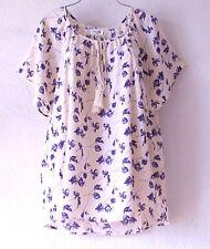 NEW~Ivory & Blue Vintage Rose Peasant Blouse Shirt Plus Boho Top~24/26/3X