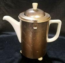 VINTAGE BAUSCHER WEIDEN PORCELAIN COFFEE POT WITH HAMMERED METAL COZY