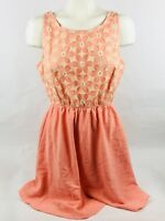 Mine Women's Dress Small Floral Peach Embroidered Flower Sleeveless (C5L2)
