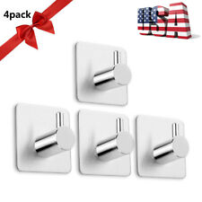 4X Stainless Steel Self Adhesive Hook Key Rack Coat Bathroom Towel Wall Hangers