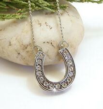 Horse & Western Jewellery Jewelry Ladies Crystal Horseshoe Necklace Silver