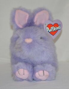 Swibco Puffkins Plush Bumper Bunny Stuffed Animal Beanie Purple Easter Rabbit
