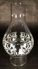 "3"" x 9 1/4"" Clear Diana Decorated Oil Lamp Glass Chimney #2 burner & 3"" gallery"