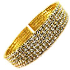 USA Bracelet Fashion Style GOLD CUBIC ZIRCONIA CZ CRYSTAL plentinum sizable