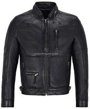Men Leather Jacket Black Fashion Zip Collar Biker Style Real Leather Jacket 9056