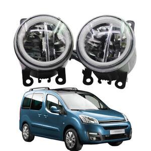 LED Fog Light + Angel Eye Rings Daytime Running Lights Fit For Citroen Berlingo