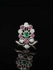 ANTIQUE ART DECO NATURAL EMERALD RUBY AND DIAMOND PLATINUM TIARA AIGRETTE RING