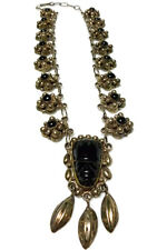 """OLD MEXICO STERLING SILVER CARVED ONYX FACE BALL BEAD CABLE CHAIN NECKLACE 17"""""""