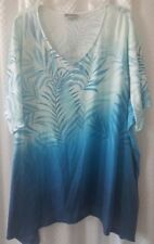 Catherine's 4x Embellished Knit Top Shirt Studs Studded Ombre Tropical Leaf New