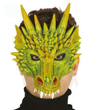 Green Dragon Mask Fancy Dress Costume Face Mask Dinosaur Creature Alien NEW