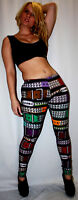 LADIES PYRAMID STUDS MULTI BELTS PRINT LEGGINGS GOTH PUNK EMO SIZE 8 - 22