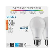 CREE 60W= Soft White (2700K) A19 Dimmable Exceptional Light Quality LED (2 pack)