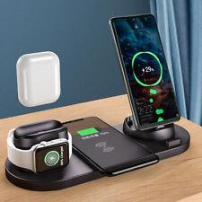 6 in1 Qi беспроводной зарядное устройство док подушечка для Apple Watch 5/4/3/2/1 airpod iPhone 11 XS