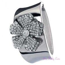 Vintage Deco Gatsby Heavy Silver Daisy Flower Bangle Cuff w/ Swarovski Crystals