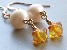 Sputnik Shaped Golden Baltic AMBER & Freshwater Pearls 14ct Rolled Gold Earrings