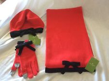 NWT Kate Spade Contrast BOW Set of Muffler, Gloves, & Hat, Persimmon Grove