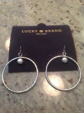 Lucky Brand Silver Tone And Imitation Pearl Hanging Hoop Earrings, NWOT