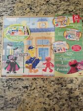 2012 Sesame Street 3 Pack Wooden Puzzles in Wood Storage Box by Cardinal new