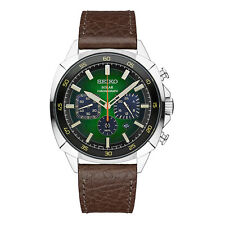 New Seiko Solar Chronograph Brown Leather Strap Green Dial Men's Watch SSC513