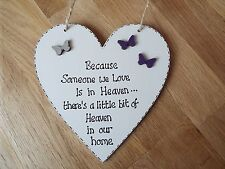 Because someone we love is in Heaven quote heart plaque sign butterfly gift