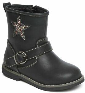 Girls School Boots Casual Star Buckle Smart Formal Wear Black Fuax Leather UK6