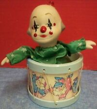 Vintage Clown in Drum Music Box Porcelain Head & Hands Winds Up Works Good Moves