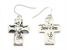 5030010 Jesus is Lord Cross Christian Scripture Bible Religious Earrings