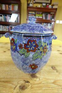 Vintage Grimwades Rubian Art Blue Lustre Biscuit Barrel a/f