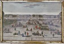 """Gravure XVIII ème, vue d'optique en couleur """"Château de Versailles"""" cadre doré."""