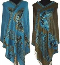 Double-Side Women's Butterfly Pashmina & Silk Shawl Scarf Wraps Scarves Shawls