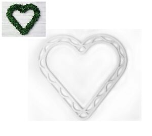 "2x Plastic White 8.5"" Heart Wreath Hanging Decoration Frame Wedding Flower S7817"