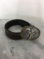 Tony Lama Size 34 Studded Jewel Nocona Buckles Cross Leather Embossed Belt