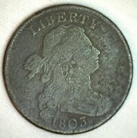 1803 Draped Bust Copper MUMPS S248 Large Cent Early Penny Type Coin Good 1c