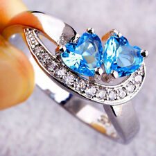 Fashion Women Heart Blue White Gemstone Silver Ring Fashion Jewelry Sz 6 7 8 9