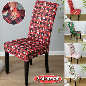 1/4/6X Dining Chair Covers Stretch Removable Xmas Party Banquet Chair Slipcovers