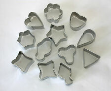 Set of 12 Metal Cutters,  Shapes including Hearts, Diamonds, etc. Fondant